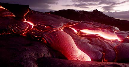 Lava cooling Hawaii