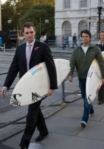suits protest surfboard ban