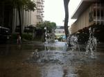 Roads Kuhio Ave flooded storm drains [ASUKA SAWADA]