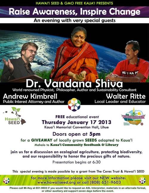 Dr Vandana Shiva Walter Ritte Kimbrell Kauai