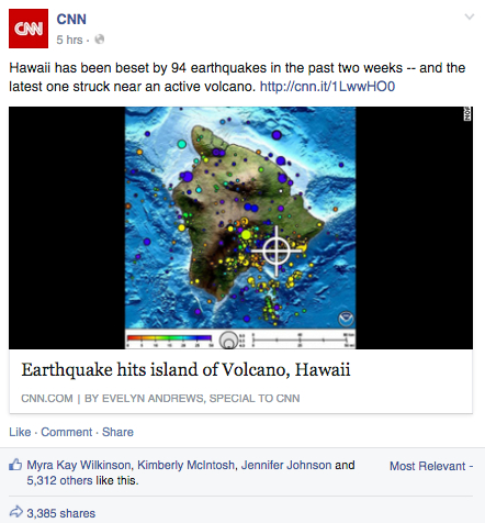 CNN Hawaii Earthquake Scare Tactic Headline
